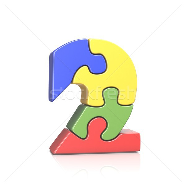 Puzzle jigsaw number TWO 2 3D Stock photo © djmilic