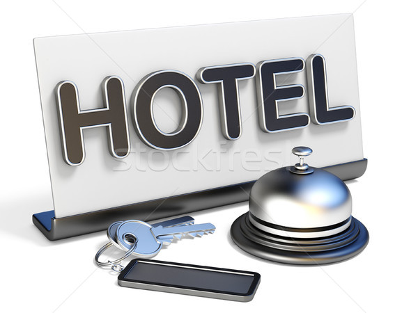 Hotel bel teken sleutels 3D 3d render Stockfoto © djmilic
