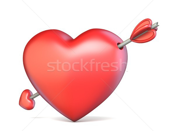 Heart pierced by arrow Valentine's concept 3D Stock photo © djmilic
