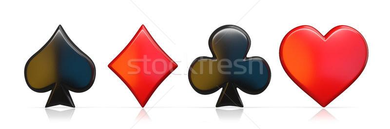 ásó szív gyémánt klub felirat 3D Stock fotó © djmilic