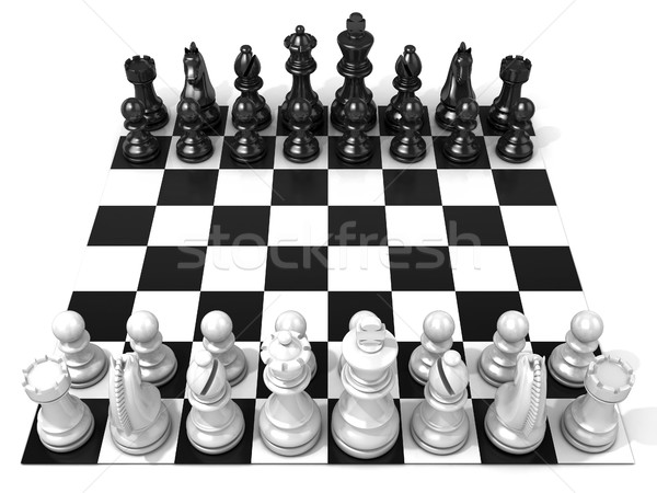 Satranç tahtası tüm yalıtılmış beyaz yandan görünüş Stok fotoğraf © djmilic