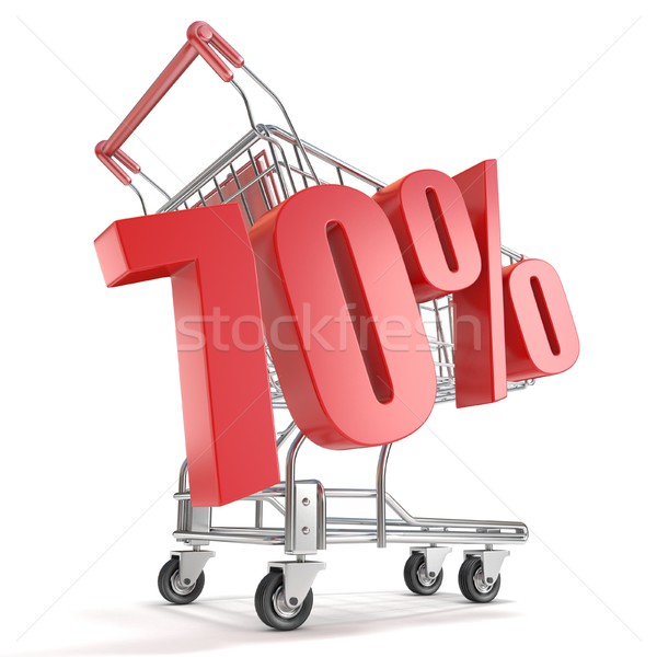70% - seventy percent discount in front of shopping cart. Sale c Stock photo © djmilic