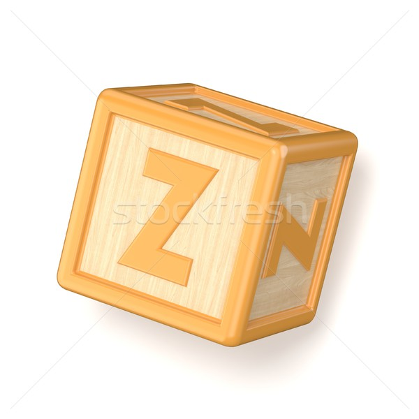 Stock photo: Letter Z wooden alphabet blocks font rotated. 3D
