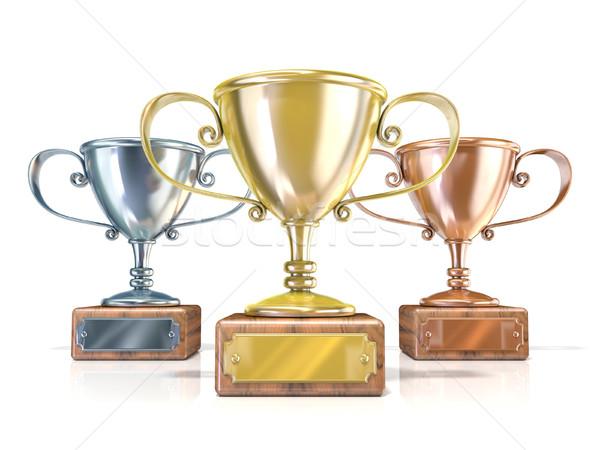Arany ezüst bronz nyertesek trófea csészék Stock fotó © djmilic