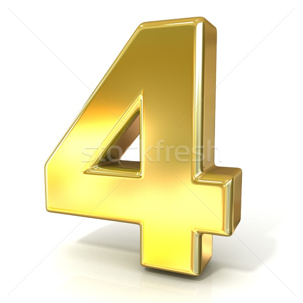 Numerical digits collection, 4 - FOUR. 3D golden sign Stock photo © djmilic