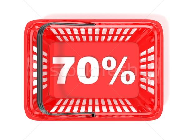 Stok fotoğraf: Yüzde · indirim · etiket · kırmızı · alışveriş · sepeti · 3D