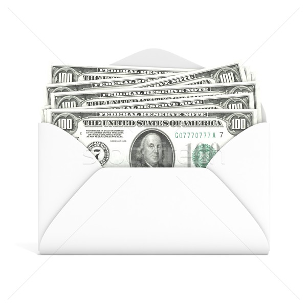 Dollars in envelope. Front view. 3D Stock photo © djmilic