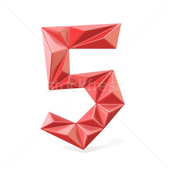 Vermelho moderno fonte dígito cinco 3D Foto stock © djmilic