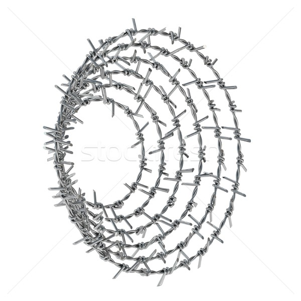Spiral barbed wire side view d stock photo milic