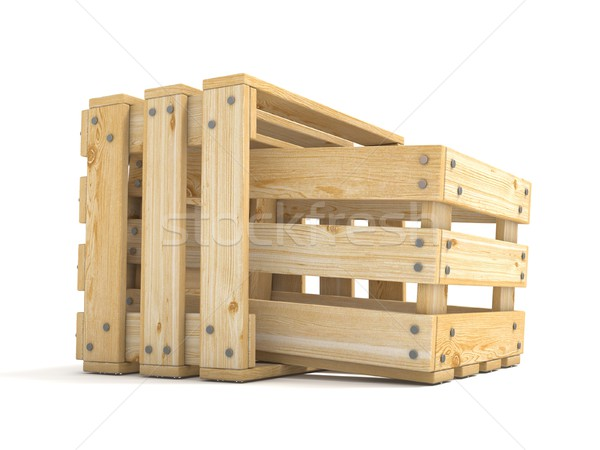 Two empty wooden crate Side view 3D Stock photo © djmilic