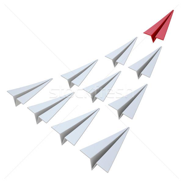 Rood papier vliegtuig leider 3D Stockfoto © djmilic