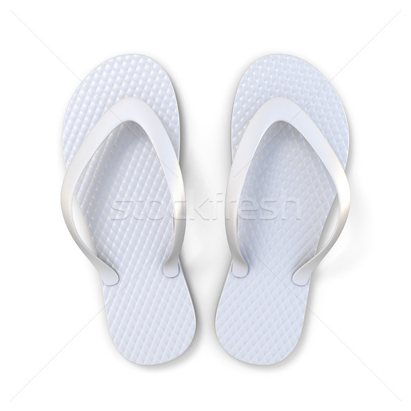 8a50e48572e0 White flip flops top view 3D rendering Stock photo © djmilic
