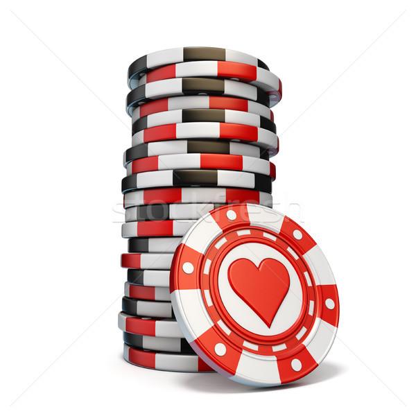 Gioco d'azzardo chip uno rosso cuore Foto d'archivio © djmilic