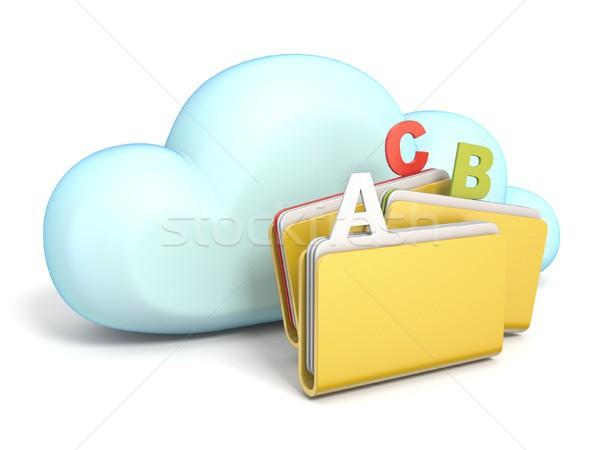 Bulut simgesi üç klasörler 3D yalıtılmış Stok fotoğraf © djmilic
