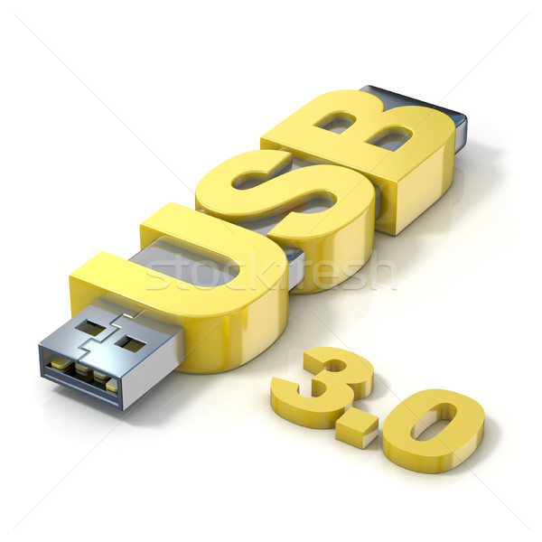 USB flash memory 3.0, made with the word USB. 3D Stock photo © djmilic