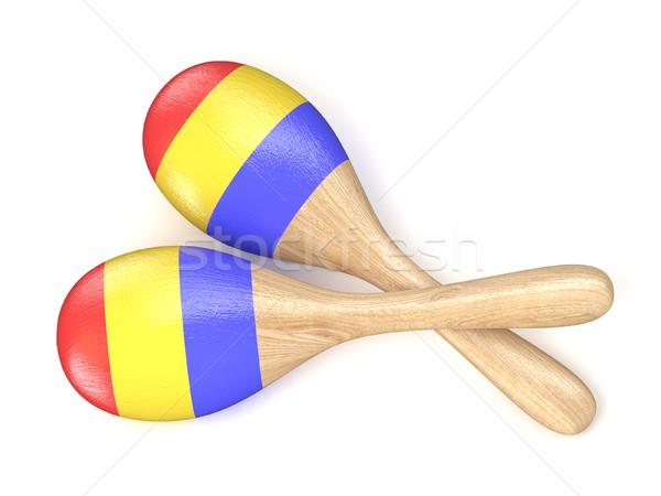 Wooden toy maracas. 3D Stock photo © djmilic
