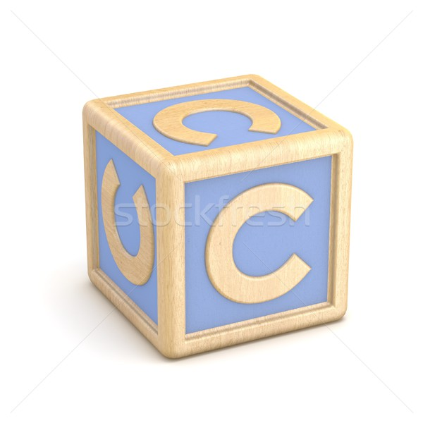 Letter C wooden alphabet blocks font rotated. 3D Stock photo © djmilic