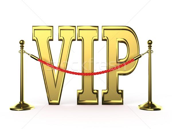 Velvet rope barrier, with golden VIP sign. 3D Stock photo © djmilic