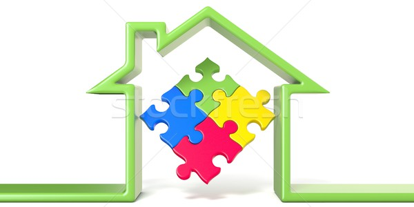Puzzle in house made of green line 3D Stock photo © djmilic