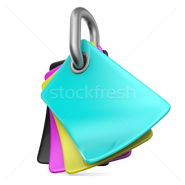 CMYK colors palette on chain link 3D Stock photo © djmilic