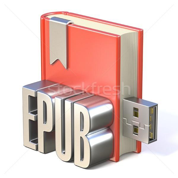 Ekönyv ikon fém piros könyv usb Stock fotó © djmilic