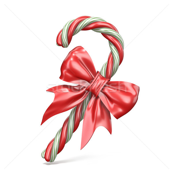 Stock photo: Christmas decoration made of candy cane and ribbon bow 3D