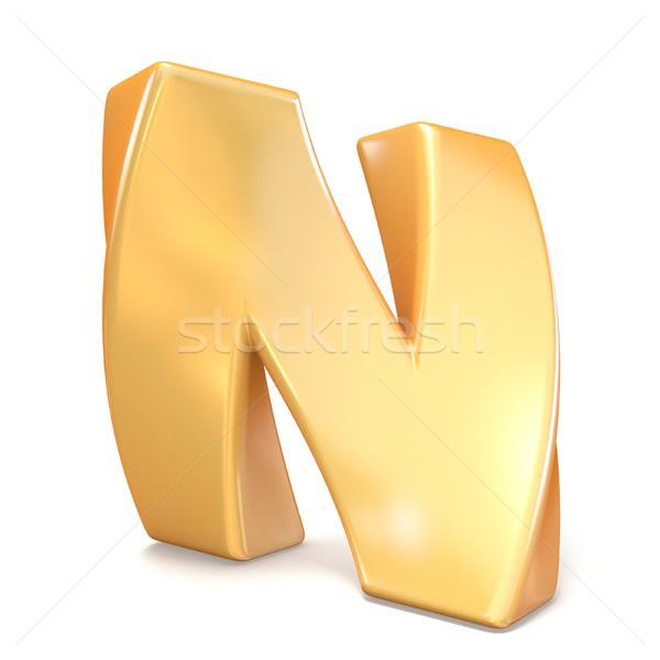 Orange twisted font uppercase letter N 3D Stock photo © djmilic