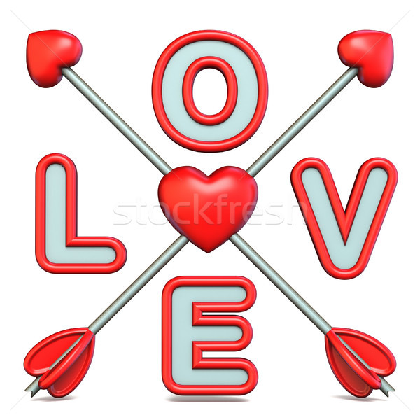 Love text with crossed Cupid's arrows 3D Stock photo © djmilic