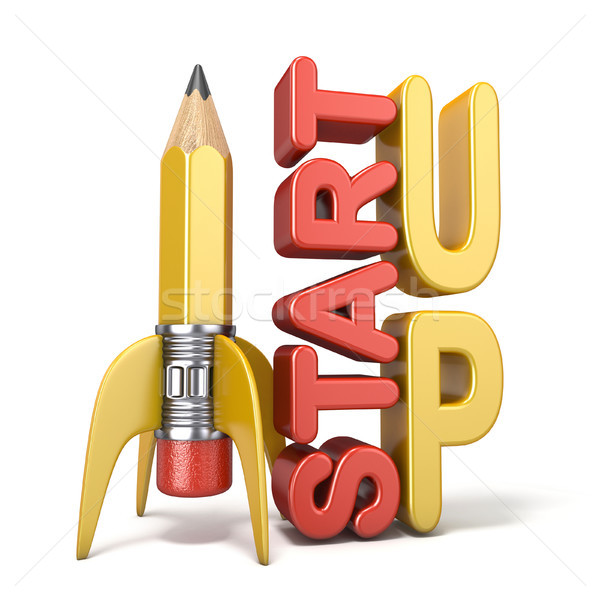 Pencil in the form of rocket with text START UP 3D Stock photo © djmilic