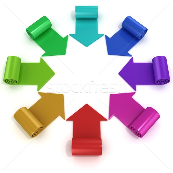 Rainbow spiral arrows directed to the center Stock photo © djmilic