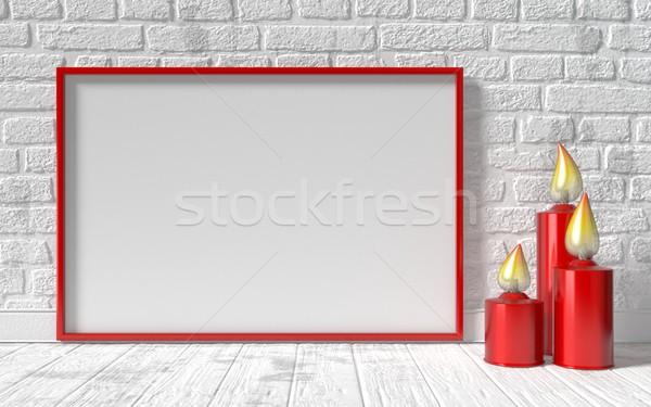 Cadre photo rouge chandelier blanche mur de briques up Photo stock © djmilic