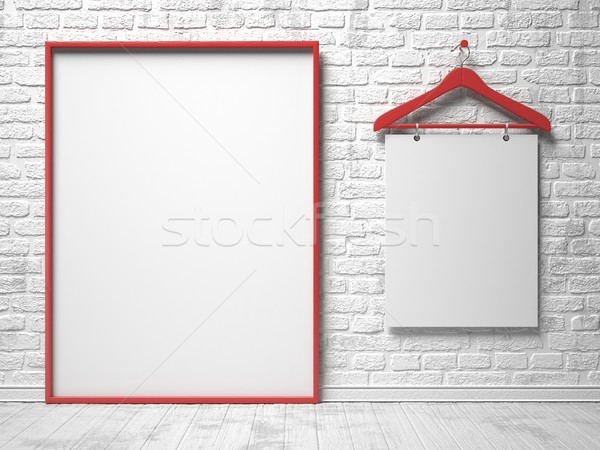 Cloth hanger and white canvas on the white painted brick wall. 3 Stock photo © djmilic
