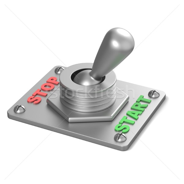 Metal toggle switch, flipped in the START position. 3D Stock photo © djmilic