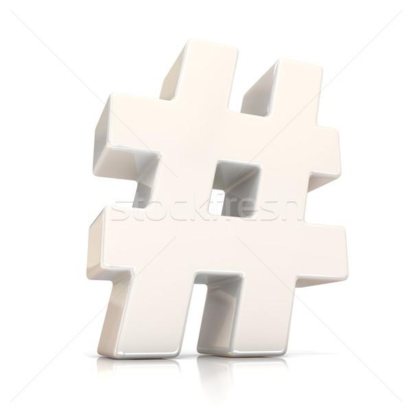 Hashtag, number mark 3D white sign Stock photo © djmilic
