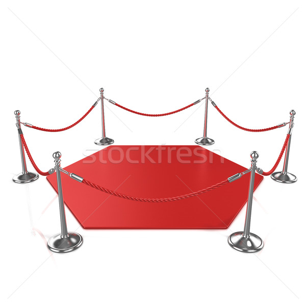 Red hexagon carpet surrounded with red rope and silver column Stock photo © djmilic