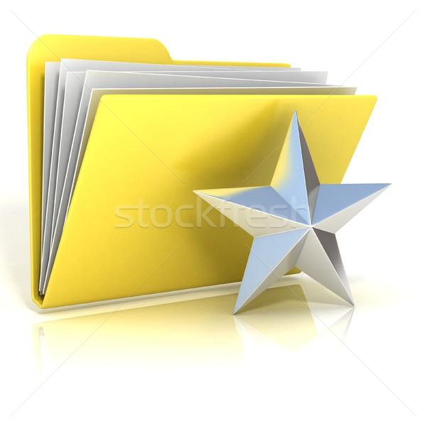 Ulubione star folderze ikona 3D 3d Zdjęcia stock © djmilic