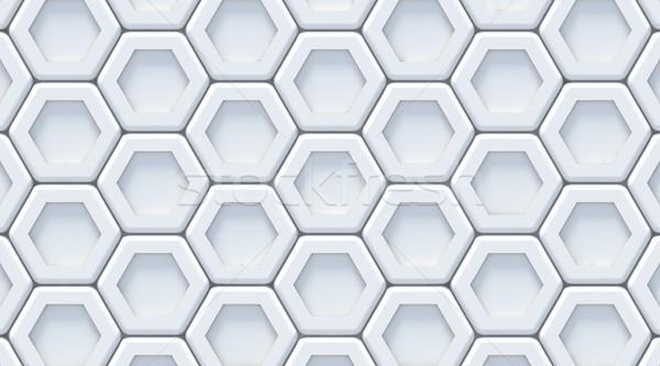 White gray abstract hexagonal background. 3D Stock photo © djmilic