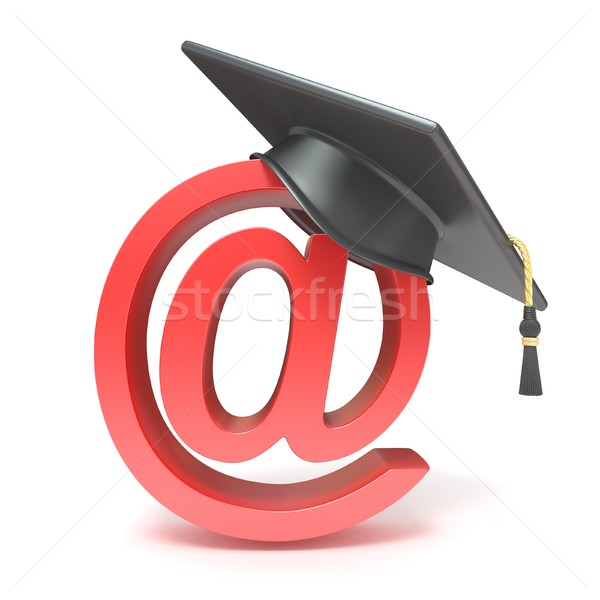 Stock photo: Graduation hat on AT symbol. E-learning concept. 3D