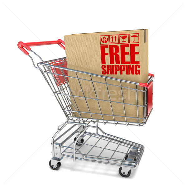 Red shopping cart with cardboard box and free shipping sign 3D Stock photo © djmilic