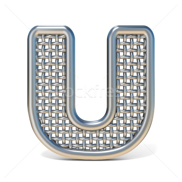 Outlined metal wire mesh font LETTER U 3D Stock photo © djmilic