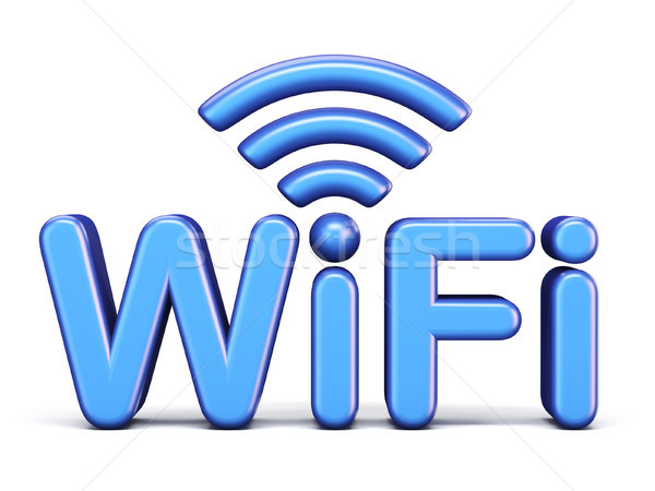 Bleu wifi symbole 3D rendu 3d illustration Photo stock © djmilic