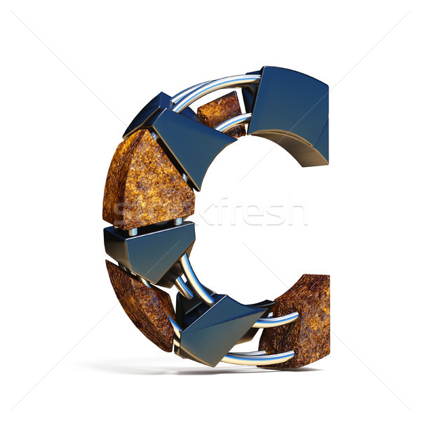Black brown fracture font LETTER C 3D Stock photo © djmilic