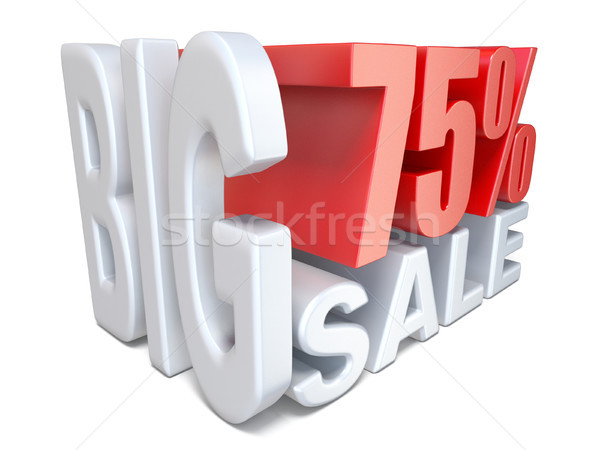 White red big sale sign PERCENT 75 3D Stock photo © djmilic