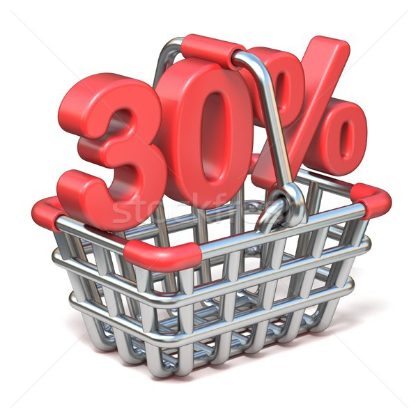 Metal shopping basket 30 PERCENT sign 3D Stock photo © djmilic