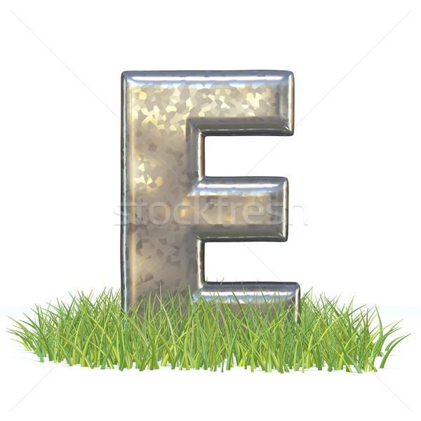 Galvanized metal font Letter E in grass 3D Stock photo © djmilic