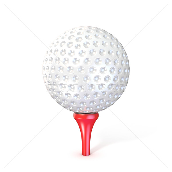 Golf ball on red tee. 3D Stock photo © djmilic