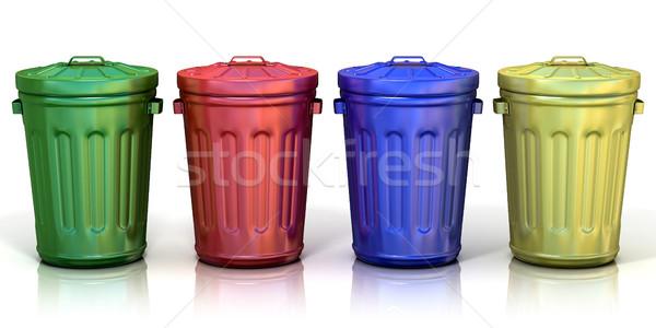 Stock fotó: Négy · újrahasznosít · újrahasznosítás · papír · fém · üveg