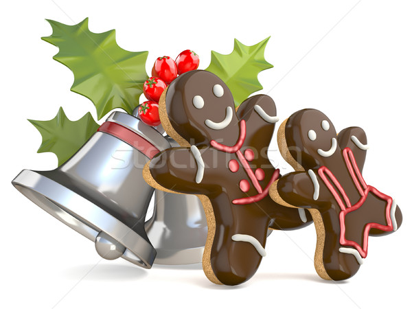 Stock photo: Smiling gingerbread men and Christmas bell with holly berries. 3