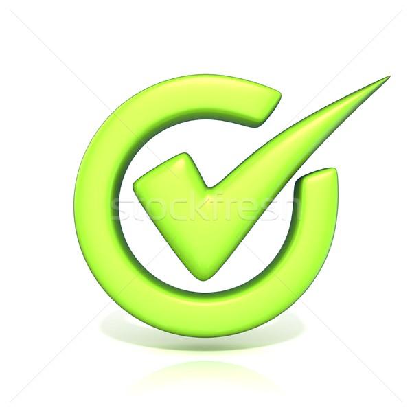 Zielone skorygowania sprawdzić ocena kółko 3D Zdjęcia stock © djmilic
