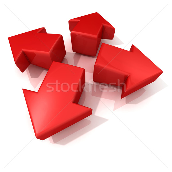 Red 3D arrows expanding. Front view Stock photo © djmilic